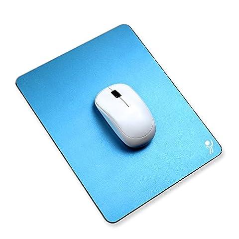 Proelife en aluminium de haute qualité en métal Mouse Pad/Tapis de souris Pad/Tapis pour Apple Magic Mouse Microsoft Logitech TeckNet Razer Mouse/souris, Metal Mouse Pad-Rectangle Blue, Mouse
