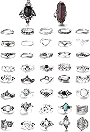 FIBO STEEL 43 Pcs Bohemian Vintage Knuckle Rings for Women Stackable Midi Finger Ring Set