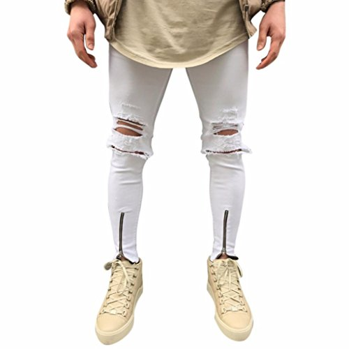Weiß Destroyed Denim Hose Herren, DoraMe Männer Löchern Jeans Motorrad Vintage Jeans Slim Fit Hiphop Street Ripped Hosen(Bitte wählen Sie eine größere Größe als üblich) (Weiß, Asiatische Größe 30)