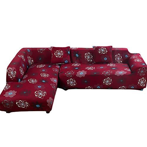 Htdirect universale divano covers for a forma di l, pezzi in tessuto poliestere elasticizzato slipcovers + 2pcs federa per divano componibile divano angolare red