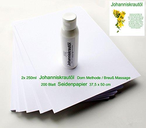 Set - 2 x 250ml Johanniskrautöl + 200 Blatt Seidenpapier (37,5 cm x 50,0 cm) für Dorn Methode/Breuß Massage