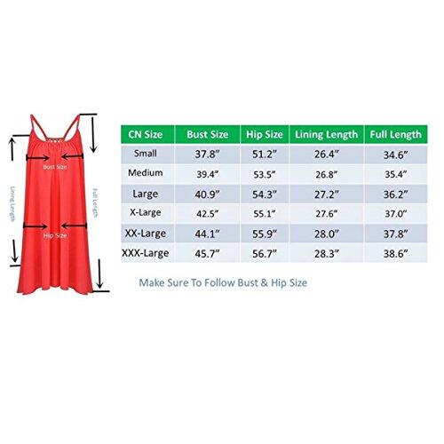 jinyouju femmes d'été décontracté à spaghetti Sangle robe de plage sans manches courtes Mini robe Rouge - Rose rouge