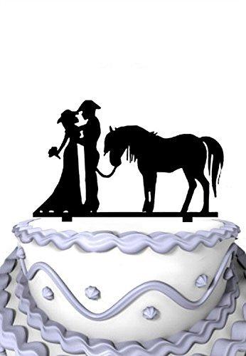 Meijiafei Kuchen-Dekoration Cowgirl und Cowboy Braut und Bräutigam mit Pferd