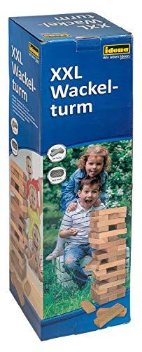 Idena 40205 Großer XXL Wackelturm, Geschicklichkeitsspiel mit 54 Bausteinen aus Holz, ca. 15,5 x 15,5 x 54 cm, Hellbraun