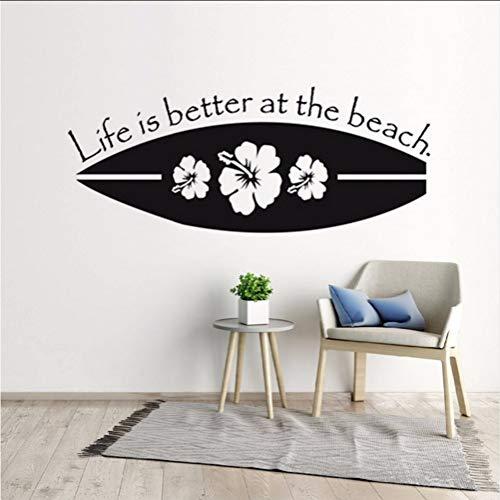 Lkfqjd Surfbrett Wandtattoo Sport Surfen Vinyl Wandaufkleber Das Leben Ist Am Strand Besser Qute Wall Poster Home Decor104 *42 Cm