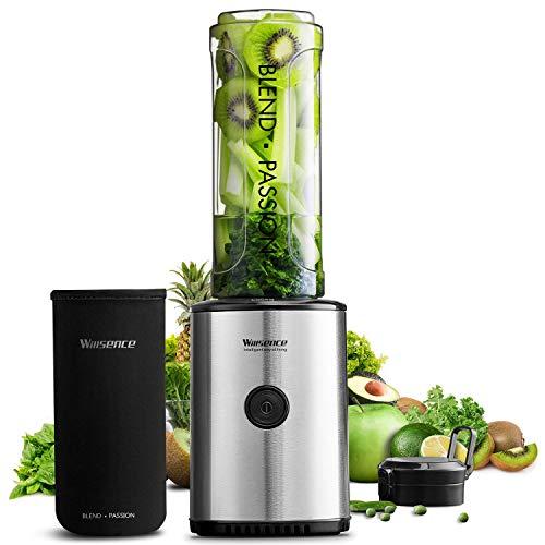 Willsence Smoothie Maker, 300 Watt Mini Frullatore Portatile con Senza BPA Bottiglia da Viaggio e Custodia di Protezione e Lame per Alimenti in Acciaio Inox, Frullatore per Frutta e Smoothie Verdura