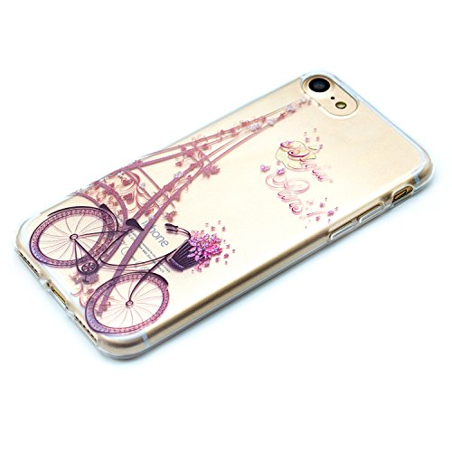 Custodia iPhone 7 Plus Spiritsun Apple 7 Plus Cover TPU Moda Elegante CaseCover Morbido Silicone Case Protezione Bumper Funzione Copertura Shell Per iPhone 7 Plus Phone Custodia - Dandelion Viola Torre Eiffel e Bicicletta