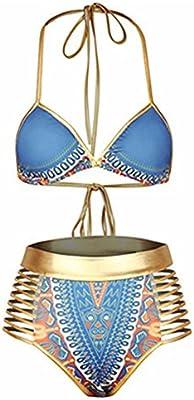 DELEY Mujeres Oro Vendaje Cintura Alta Vintage Etnico Estampado Bikini Brasileño Traje De Baño Ropa De Baño Swimwear Swimsuit