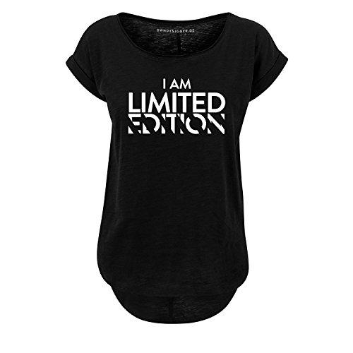 OwnDesigner Damen Oversize Tshirt I am Limited Edition Girl Shirt mit Spruch & Motiv Größe XS-XL U-Ausschnitt (406-B36-Schwarz-XS) -