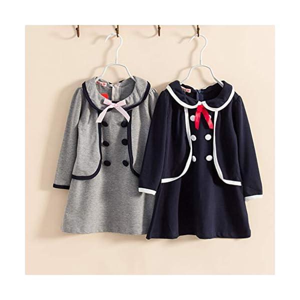 Cinnamou Vestido de Dos Piezas Falso Viento, Abrigo Vestidos de Universidad de Manga Larga Niños Blusa y Tops en Botones… 5