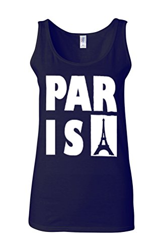 Paris France Eiffel Tower Cool Novelty White Femme Women Tricot de Corps Tank Top Vest Bleu Foncé