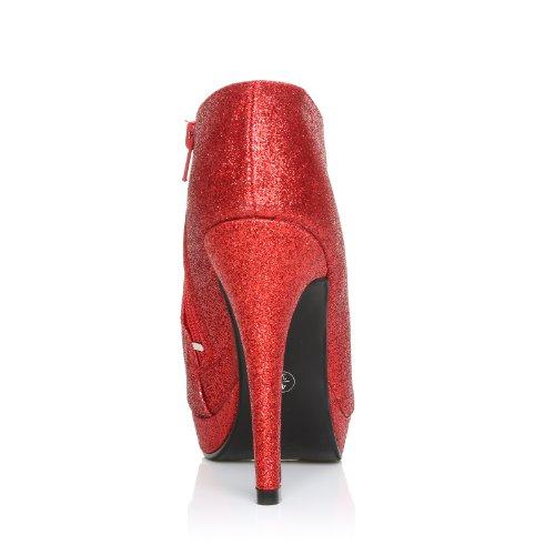 Damen Stiefeletten Glitzer Sehr Hoher Pfennigabsatz Pumps H20 Schuhe Rot Glitzer