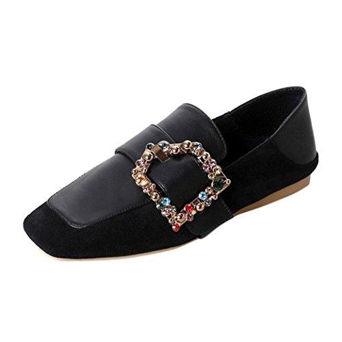 Bequeme Schwarze Wohnungen (squarex Damen Wohnungen Damen Gürtel Bequem Kristall Schuhe Weich-Casual Boot Schuhe Adult 5 UK/ Foot Length:23-23.5cm schwarz)