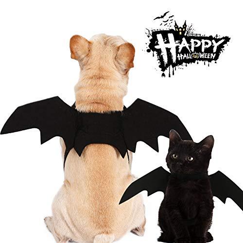 Kuoser Halloween-Haustierkostüm, Fledermausflügel für Hunde und Katzen, süßes Kostüm, Party, Cosplay, Requisiten, verstellbar, Schwarz