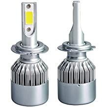 2pcs H7 LED Faro Bombillas , Zloer H7 LED Bombillas para Faros Delanteros Kit de Conversion Impermeable IP65, 20000LM Auto Kit de faros de coche de conducción bombillas lámparas 6000K H7
