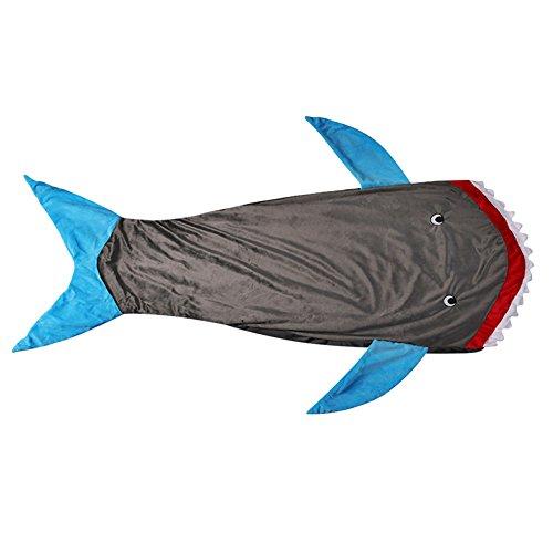 Hai Decke Schlafsack für Kinder Jungen mit Haifisch Zähne Schwanz, Warm Weich Gestrickte Fleece Snuggle Steppdecke, groß 56