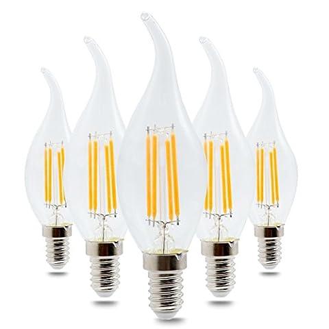 Haute qualité , E14 4W Blanc chaud Blanc Cool LED COB Ampoule en verre Shell Lumière à bougie LED Edison AC220-240 (5PCS) Fit Maison et cuisine ( Couleur : Blanc Neige )