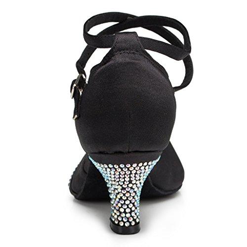 Minitoo femme Peep Toe cristal satiné Eveing Sandales pour un usage quotidien Noir - noir