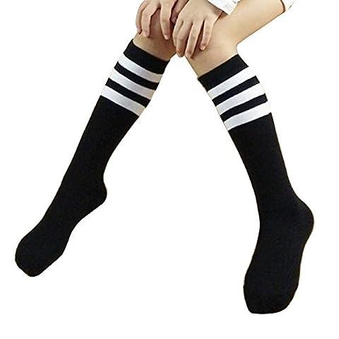 Fletion Kinder Mädchen Baumwolle Streifen Knie Socken Winter Warme Klassik Strümpfe Strumpfhose Socken Lange Socken Sportsocken, Schwarz mit Weiß Streifen, 4-15 Jahre