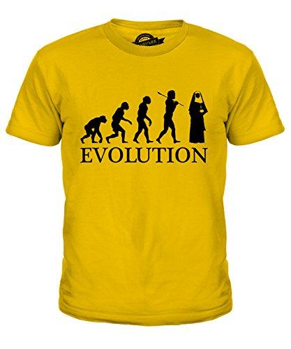 Candymix Nonne Evolution des Menschen Unisex Jungen Mädchen T Shirt, Größe 10 Jahre, Farbe Dunkelgelb
