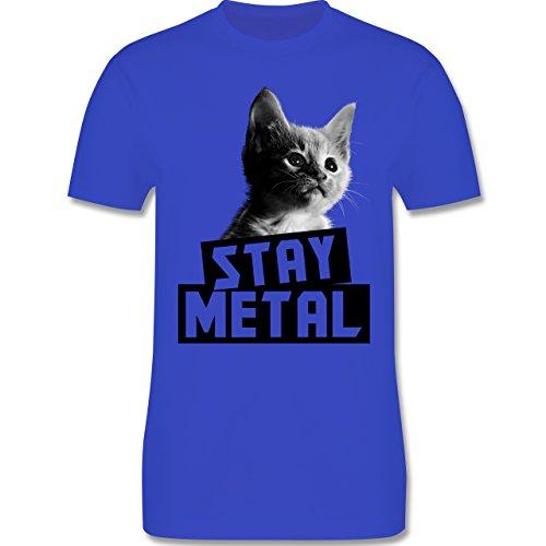 Metal - Stay Metal Katze - Herren Premium T-Shirt Royalblau