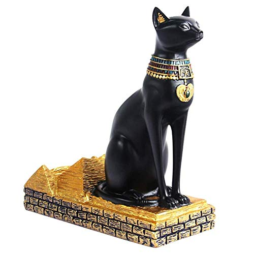Especificación:   Nombre: estante del vino egipcio del dios del gato   Material: material de resina avanzado   Color: negro y dorado.   Tamaño: aproximadamente 22 *   10 * 22.5cm / 8.66 * 3.94 * 8.86in   Peso: alrededor de 970 g      Lista de empa...