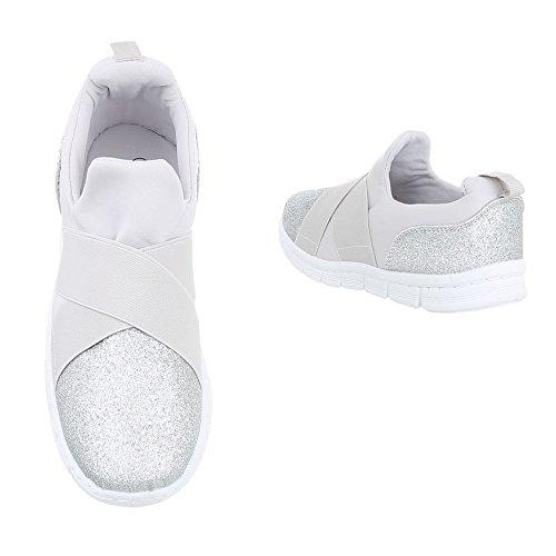 Low-Top Sneaker Damenschuhe Low-Top Sneakers Ital-Design Freizeitschuhe Silber FC-S51