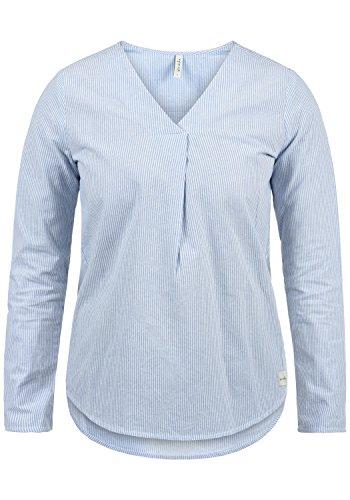 Jersey Langarm-bluse (BlendShe Stacey Damen Lange Bluse Langarm Mit Streifen-Muster Und V-Ausschnitt Aus 100% Baumwolle Loose Fit, Größe:S, Farbe:Light Blue Stripe (20248))
