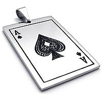 Bishilin Ciondolo Acciaio Inox Spades Card Poker Unisex Pendente Collane con 18-26