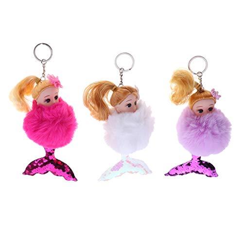 FLAMEER 3 STK. Mini Plüsch Prinzessin Meerjungfrau Puppen Schlüsselanhänger Dekoration für Handy, Tasche, Schlüssel usw.
