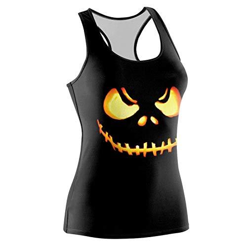 Weibliches T-Shirt Halloween-Skelett-Schädel Druckten sexy est Backless Horror-Dämon-Skeleton Zombie-Party-Show Tanz-Straße est-B4, M