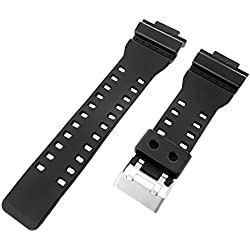 16mm Black Resin Watch Band Fits Casio G-Shock GA-100, GA-300, GA-120, GA-110C, GD-100, GAC-100, GA-120BB