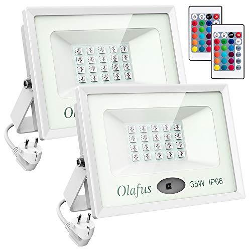 Olafus 2 Paquetes Foco LED RGB 35W, 16 Color 4 Modo IP66...
