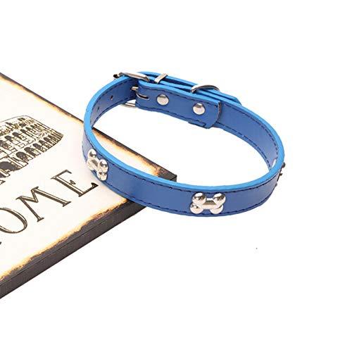 AffoOn Haustier-Halskette Für Kleine Hunde Pu-Leder-Kristallrhinestone-Knochen Bezaubert Anhänger Verzierte Kragen-Zusätze -