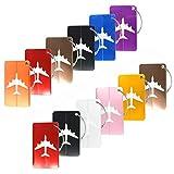 12 piezas Creatiees Viajar Equipaje Etiquetas, Aluminio Avión Patrón Equipaje Etiquetas con Inoxidable Acero Cuerdas para Equipaje Bolso Identificador/ Viajar Accesorios(Mezclado Colores)