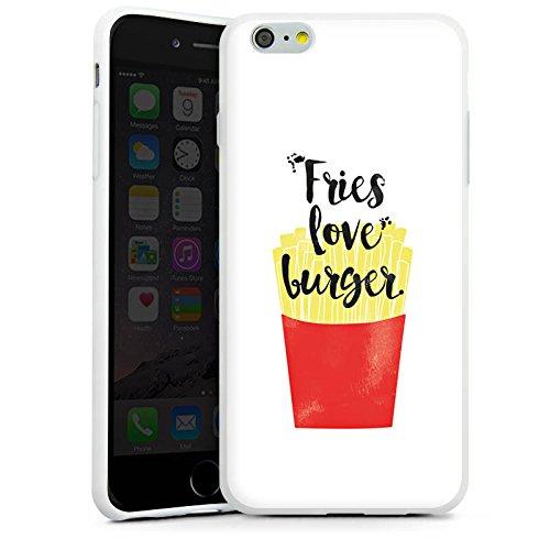 Apple iPhone X Silikon Hülle Case Schutzhülle Pommes Fastfood Burger Silikon Case weiß