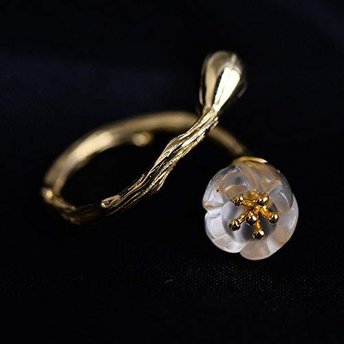 840497c5084c Yarmy S925 Plata con Incrustaciones de Anillo de la señora Rama Cristal  Natural Flor de Oro