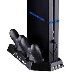 Rixow Refrigeración para PS4 con Dos Ventiladores de Playstation 4 Consola con Puertos Libres Cargador Doble Estación de Carga para Dual Shock - Negro