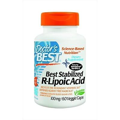 Doctor's Best Stablilized R-Lipoic Acid with BioEnhanced Na-RALA, 100mg, 60 Vegetarian Capsules