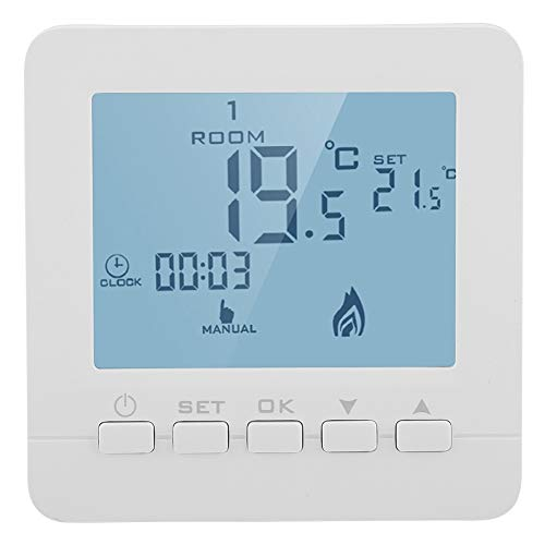 Garosa Thermostat Digital LCD Contrôleur de température programmable d'affichage numérique d'affichage à Cristaux liquides de Thermostat 5A futé