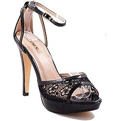 Damen Riemchen Abend Sandaletten High Heels Pumps Slingbacks Lack Peep Toes Party Schuhe Bequem 4HGL (38, Schwarz)