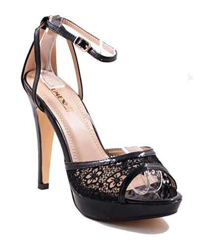 Damen Riemchen Abend Sandaletten High Heels Pumps Slingbacks Lack Peep Toes Party Schuhe Bequem 4HGL Schwarz