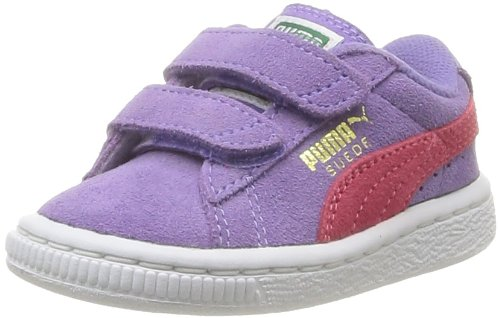 Puma Suede 2 straps , Unisex-Child Low-Top Trainers, Dahlia Purple/Paradise Pink/Team Gold, 7 UK Child