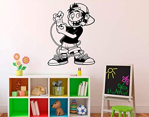 Decorative Vinyl Wall Sticker Player Gamer Video Games Cartoon Ideas Interior Decal for Living Room Decoration (Video Cartoons)