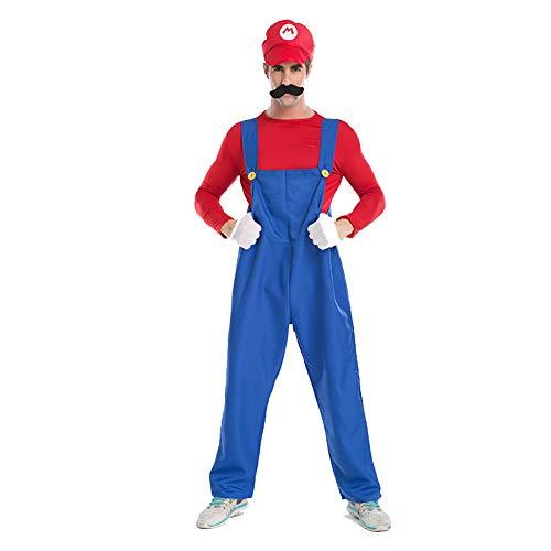 Kostüm Männlich Hut Top - AINI Männliches Halloween Kostüm, Mario und Luigi Brüder Cosplay Halloween Party Outfit für Erwachsene, Hut + Hosenträger + Tops + Bart + Handschuhe-1-L