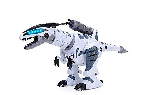 RCTecnic Dinosaurio Robot Teledirigido RoboRex ¡Lanzacohetes, Sonidos y LEDs ! | Tiranosaurio...