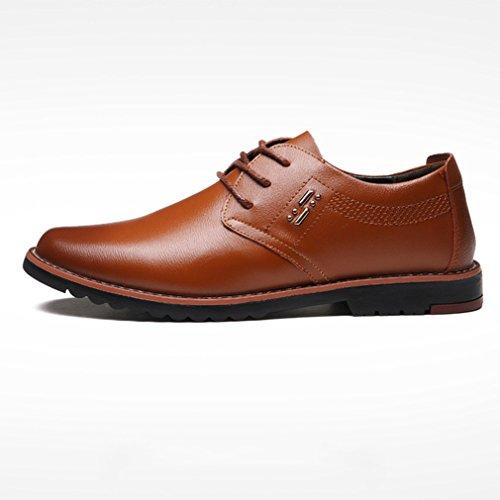 Feidaeu Derby en Cuir Souple Homme Loisirs Chaussure Brogue Pour Travail Mode Chaussure à Lacet Antidérapant Slip-On Loisirs Chaussures Homme Souliers Jaune