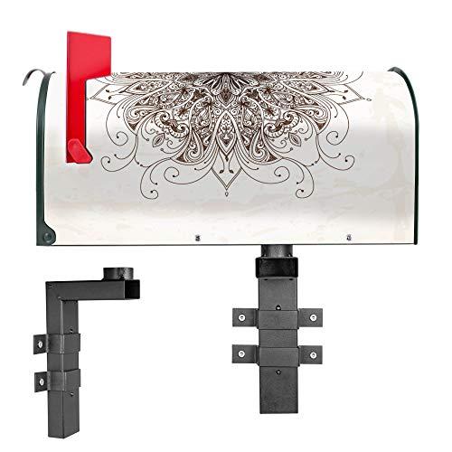 BANJADO US Mailbox | Amerikanischer Briefkasten 51x22x17cm | Letterbox Stahl Grün | mit Motiv Mehendi | inklusive Wandhalterung -