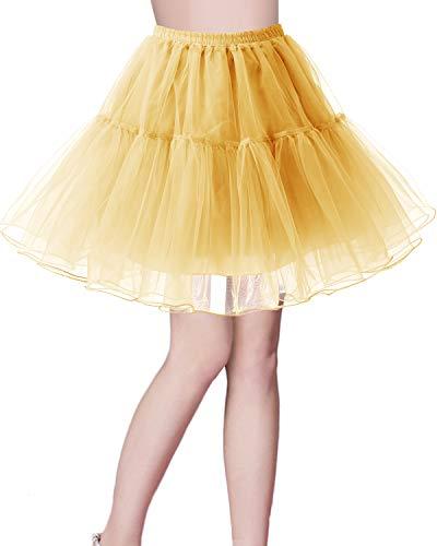 Petticoat Tutu-stil (bridesmay Kurz Retro Petticoat Rock 1950er Vintage Tutu Ballett Unterkleid Gelb S)