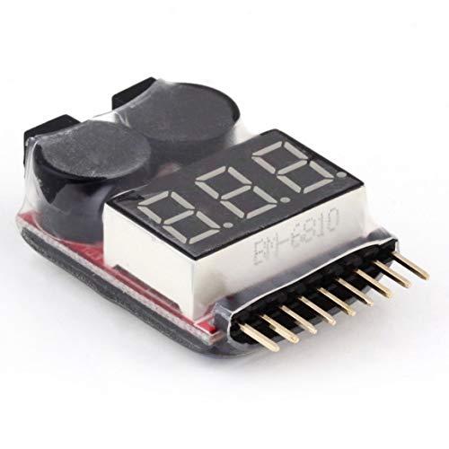 HarveyRudol85 [Ausgezeichnet] 1-8S Lipo/Li-Ion/Fe Batteriespannung 2IN1 Tester Low-Voltage-Summer-Warnung Low Voltage Detection